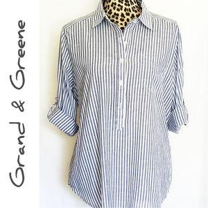 🎀 3/$25 Cotton Striped 1/2 Button Down Tunic